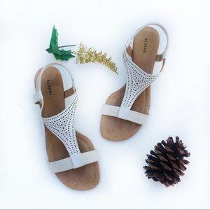 Alfani White Wedge Ankle Strap Sandals Size 9.5